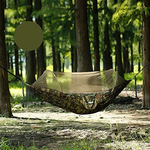 Hamaca de tamaño grande con correas de árboles de mosquitero Tela de paracaídas ultraligero Mosquitera Hamaca 600kg Capacidad de carga para jardín interior al aire libre Camping-Green 250x160cm COMFO