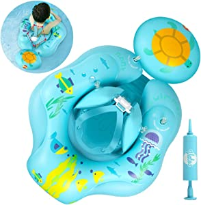 VATOS Inflatable Baby Swimming Float Ring,Baby Pool Float for Infant Toddler with Double Airbags,Safety Bottom Support and Swim Buoy, Baby Water Float for 6-30 Months