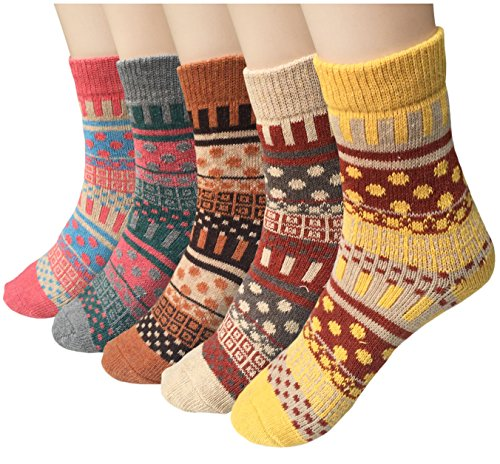 Pack of 5 Womens Winter Socks Warm Thick Knit Wool Soft Vintage Casual Crew Socks Gifts (Multicolor 04 (5pairs))