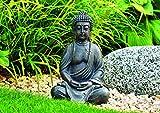 WOMA Deko Buddha Figur Sitzend aus Wetterfestem Polyresin, Dekoration für Haus, Wohnung und Garten, 30cm hoch, Skulptur für Innen und Außen, Braun - 3