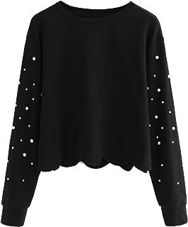 Women's Casual Long Sleeve Scalloped Hem Crop Tops Sweatshirt
