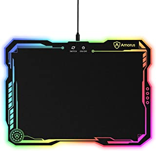 amorus RGB Gaming Mouse Pad, Large Hard Surface LED Mouse Pad Gamer Gifts for Logitech..