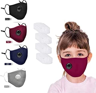 4Pack Kids Cotton Face 𝐌ask with 40pcs Filters with Breathable Air 𝐕alves-Reusable&Washable for 3-12 Years Boys Girls-Fast Delivery