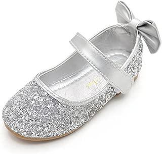 Glitter Bow Kids Children Girls Ballet Flats Princess Bridesmaid Wedding Party School Shoes Mary Janes