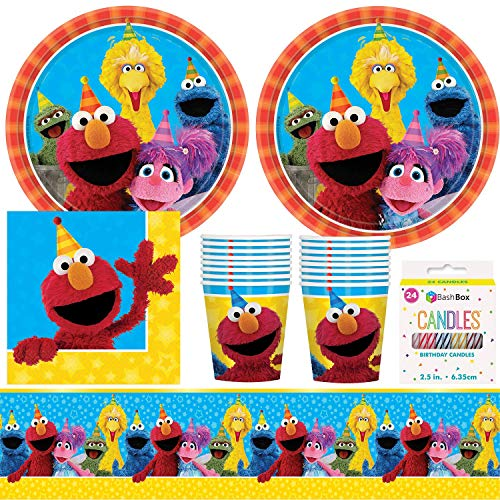 BashBox Sesame Street Birthday Party Supplies Pack Including Plates, Cups, Napkins, Tablecover (16 Guests) Plus BONUS BashBox Candles