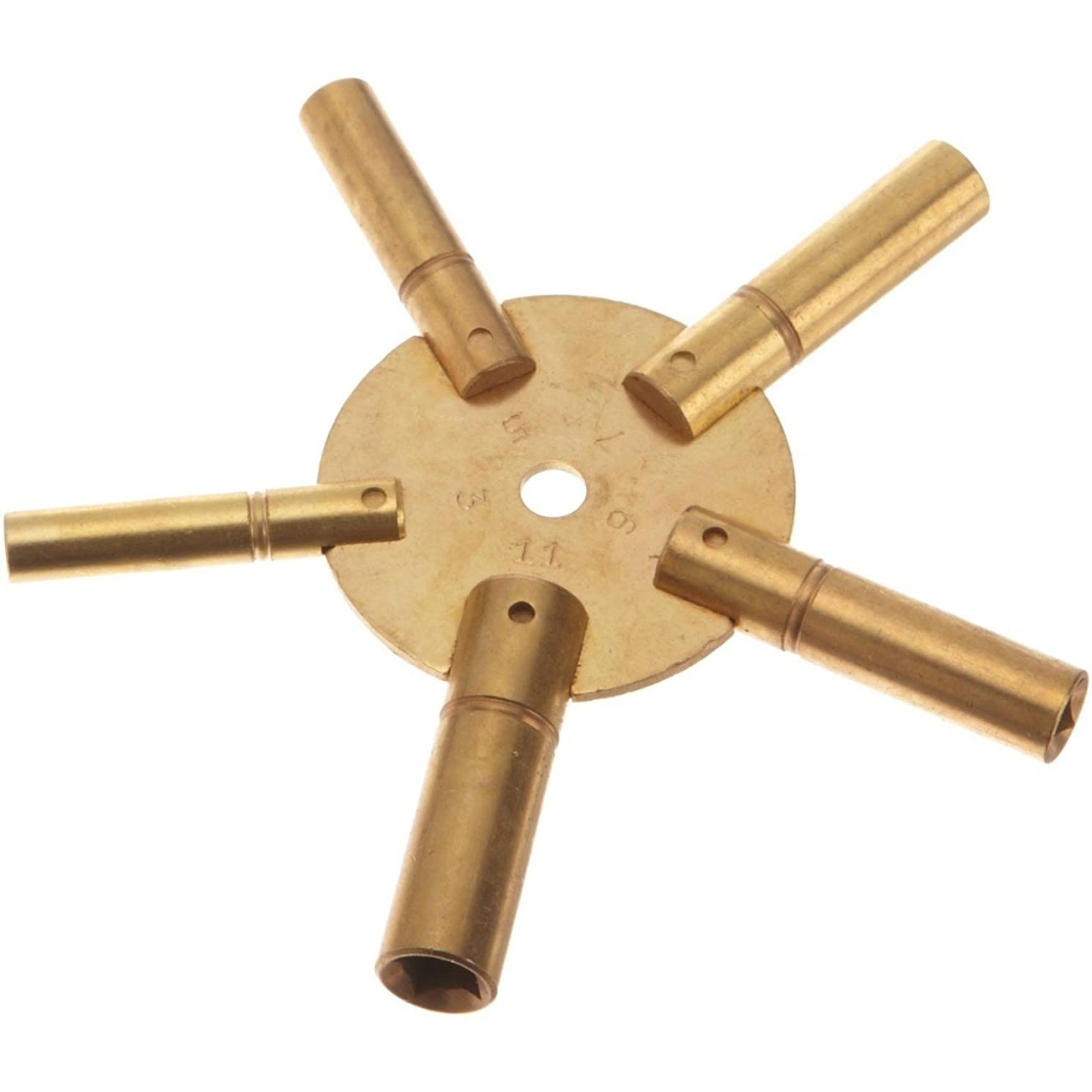 Brass Blessing : Brass Clock Winding Key 5 Prong odd Numbers 5 in 1 (1 key) (5023)