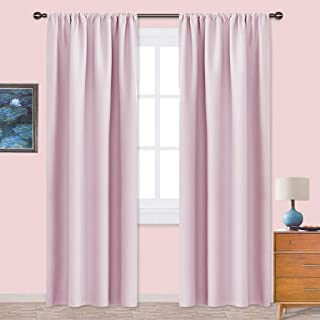 NICETOWN Living Room Blackout Curtains - Nursery Essential Thermal Insulated Solid Rod Pocket Blackout Panels/Drapes (Lavender Pink=Baby Pink,1 Pair,42 x 84 Inch)
