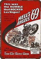 Hell'S Angels '69 Movie Ative Women Post Present 注意看板メタル安全標識壁パネル注意マー表示パネル金属板のブリキ看板情報サイン