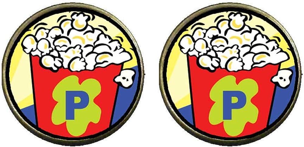 GiftJewelryShop Bronze Retro Style Movie Popcorn Photo Clip On Earrings 14mm Diameter
