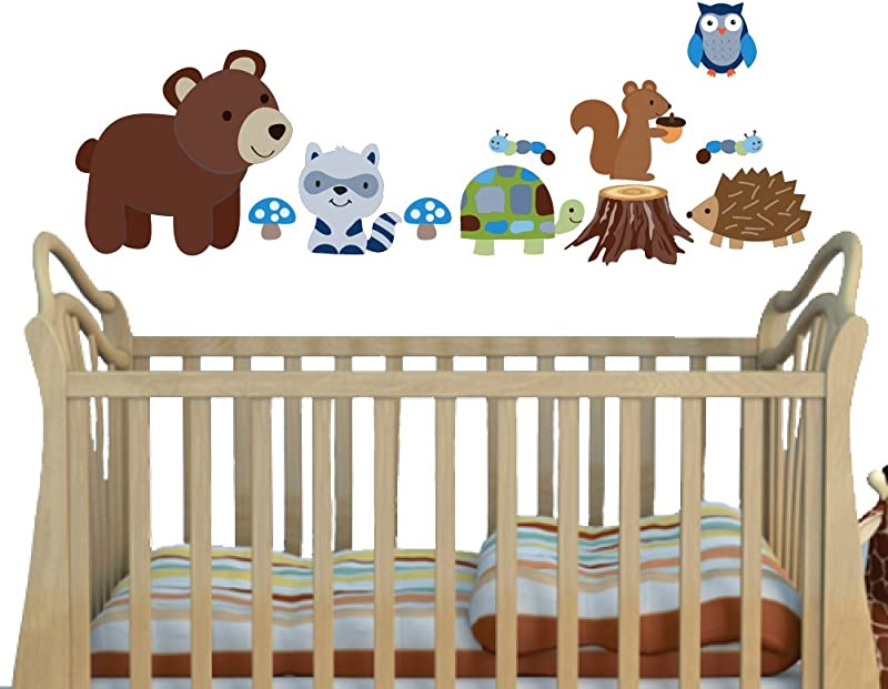 Blue Brown Woodland Animals With Turtle And Bear Decals For Kids