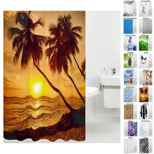 Duschvorhang, viele schöne Duschvorhänge zur Auswahl, hochwertige Qualität, inkl. 12 Ringe, wasserdicht, Anti-Schimmel-Effekt (180 x 200 cm, Summer)