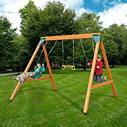 top 10 wooden swing sets Swing-N-Slide PB 8360 Wooden Ranger Swing with Swing, Brown (Amazon Only)
