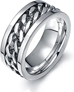 Ben Men's Fashion Silver Stainless Steel Wide 8mm Spinner Chain Shaped Ring