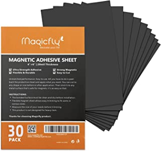 Magnetic Adhesive Sheet 4 X 6 Inch, Magicfly Pack of 30 Flexible Magnet Sheets with Adhesive, Easy Peel and Stick Self Adhesive for Photos Crafts