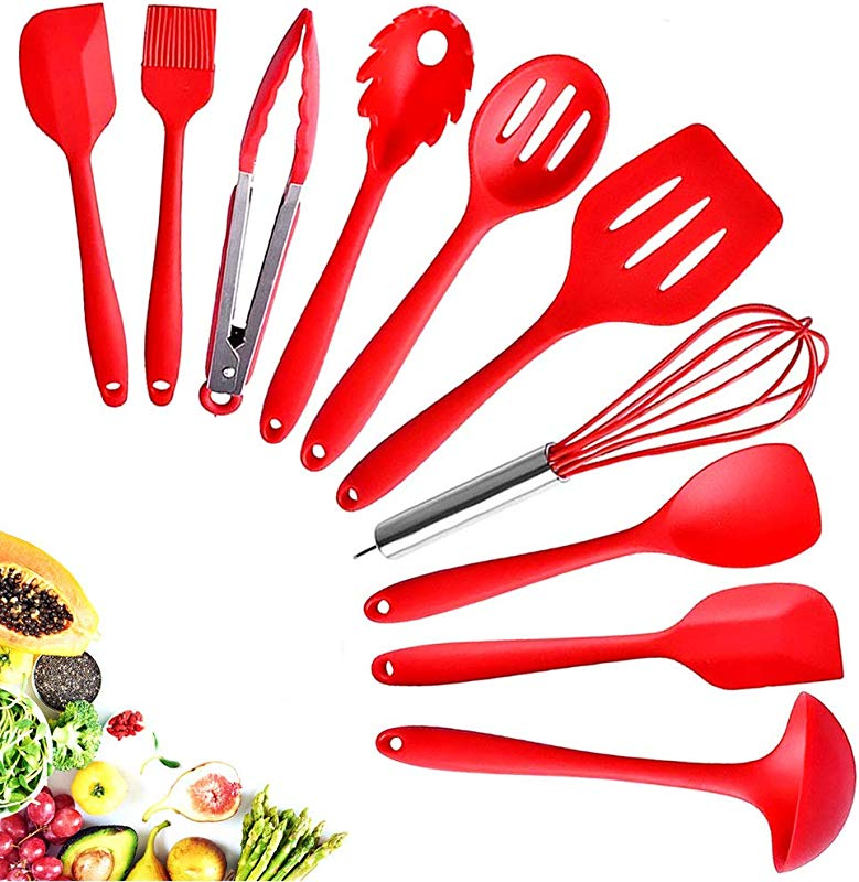 Kitchen Silicone Utensil Cooking Set Heat Resistant 10 Kitchen Utensil Non Stick Spatula Set Cooking Tools Piece Turner Whisk Spoon Brush Spatula Ladle Slotted Turner Best Kitchen Tools Gift Red