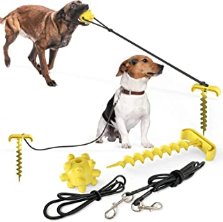 mewmewcat Dog Stake Tie Out Cable Sturdy Stake with Dog Chew Ball Dog Chain for Camping Backyard