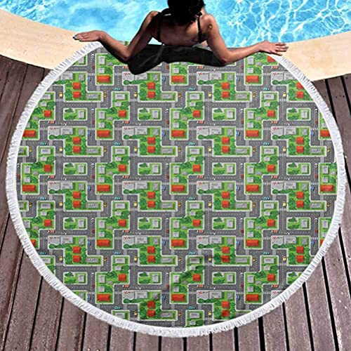 Toalla de playa redonda para niños, pista de carreras, actividad en la carretera, toalla de playa para niñas, vista de suburbio con casas, jardines y árboles, dibujos animados utilizados para la medit