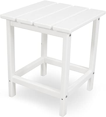 """POLYWOOD ECT18WH Long Island 18"""" Side Table, White"""