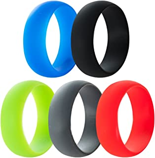 5 Pack, 8mm Medical Grade Silicone Rings Wedding Band