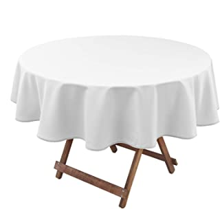 Hiasan White Round Tablecloth 60 Inch - Waterproof Stain Resistant Spillproof Polyester Fabric Table Cloth for Dining Room Kitchen Party