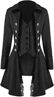 ❤Women's Vintage Irregular Tailcoat,Medieval Long Sleeve Retro Lace Trim Button Up Three-Breasted Outwear Jacket