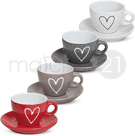 Preisvergleich für matches21 Espressotasse mit Unterteller 1 Stk. Herzdekor weiß grau braun rot ** B-WARE ** Keramik, je 5 cm hoch / 50 ml