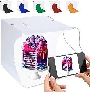 Equipo fotográfico portátil de Photo Booster de Mini Cabina de fotografía portátil Caja de luz de fotografía Plegable con Brillo 2x20 Cubo Tira de LED 8
