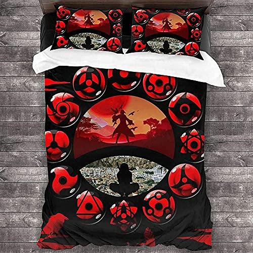 Juego de ropa de cama Akatsuki de 3 piezas, incluye 1 funda nórdica y 1 funda de almohada, 100%...