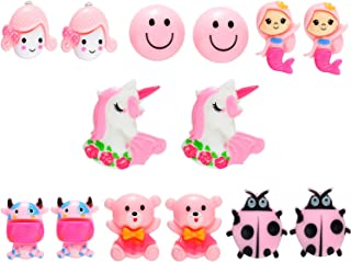 7 Pairs Colorful Cartoon Clip-on Earrings Pretend Princess Play Earrings Jewelry Set for Party Favor