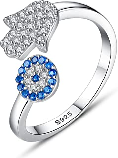 TONGZHE Dia.13mm Round Blue Evil Eye Band Ring in Sterling Silver 925 with Cubic Zirconia Size 6-8