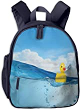 Kids School Backpack for Boys and Girls,Little Duckling Toy Swimming In Pond Pool Sea Sunny Day Floating On Water,Kindergarten Preschool Bag,navy