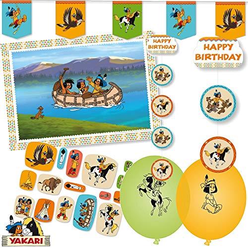 107-teiliges Deko-Set * INDIANER YAKARI * für Kindergeburtstag und Motto-Party // mit Platzsets + Wimpelkette + Decken-Dekoration + Konfetti + Luftballons + Luftschlangen // Kinder Geburtstag