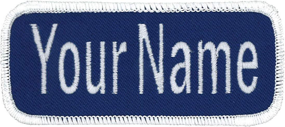 Name Patch Uniform Work Shirt Personalized Embroidered Black with Gold Border Hook Fastener.