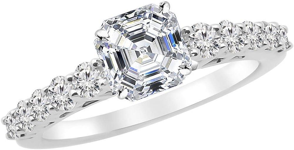 1.35 Challenge the lowest price Ctw 14K White Gold Graduating Asscher discount Cut Diamond E Classic