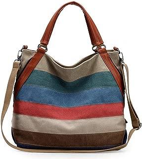 Fanspack Womens Shoulder Bag Big Capacity Casual Mix Color Shoulder Purse Canvas HandBag