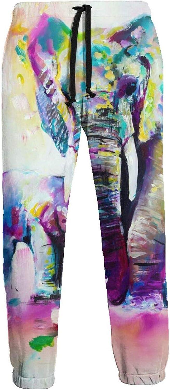 Men's Jogger Sweatpants Colorful Baby Mom Elephants 3D Loose Joggers Pants with Drawstring Long Pants