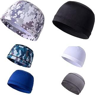 QCQHDU Men Skull Caps Helmet Liner Winter Sports Cycling Cooling Cap Beanie Sweat Wicking Under Hard Hats