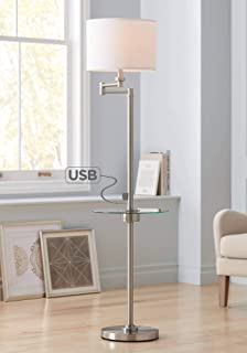 Skylar Modern Floor Lamp with Table and Hotel Style USB Charging Port Swing Arm Brushed Nickel Fabric Drum Shade for Living Room - Possini Euro Design