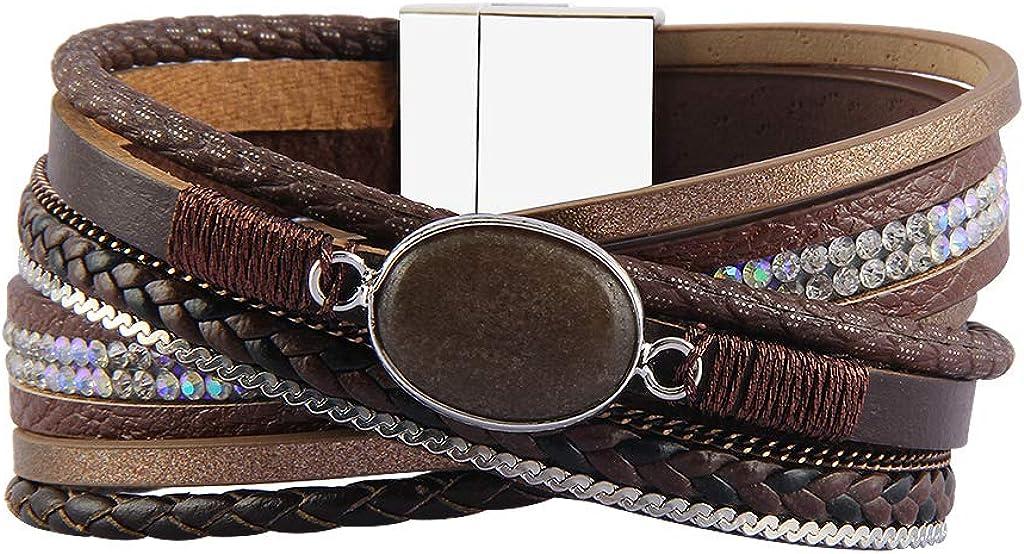 GelConnie Agate Leather Cuff Bracelet Multi Strand Boho Bracelet Casual Magnetic Wrap Bracelet Handmade Jewelry for Women, Wife LPB294-brown