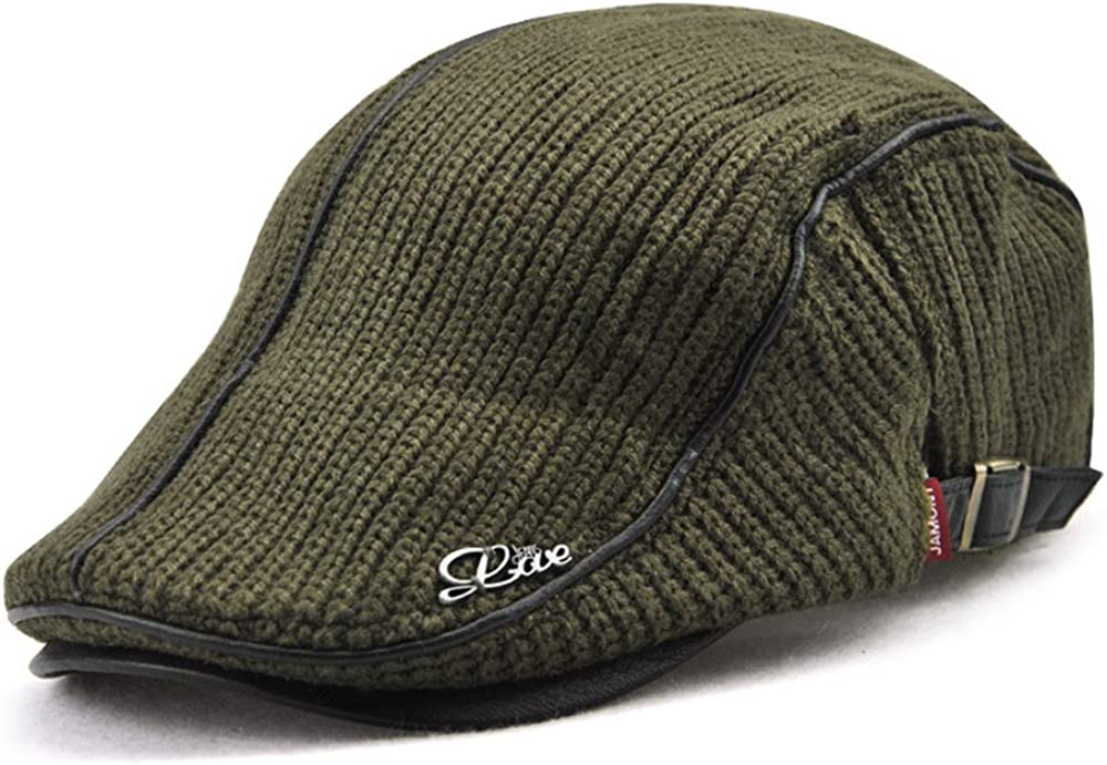 Men's New item Newsboy Duckbill Ivy Flat Colorado Springs Mall Cap Warm Scally Gree Knitted Hat