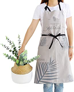 Chef Bib Apron for Adults with Pocket - Cotton Extra Long Ties Japanese Style Smocks Gifts for Painters Server Waiter Artist (Palm Leaves Pattern Grey)