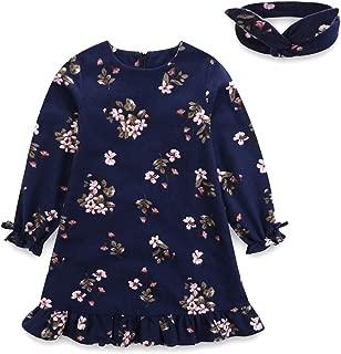 Áo quần dành cho bé gái – Fall Cotton Kids Clothes Floral Printed Girl Dress with Headband