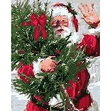 HUINXVEU Números de Pintura de Lienzo de Santa Claus para niños y Adultos para Colorear DIY Set de Regalo Decoración de Pared pintor40x50cm Sin Marco