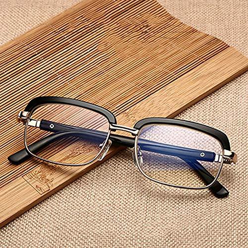 QQLHJ Halbrahmen Lesebrille für Männer,Mode Computerbrille Lesehilfe,mit Großem Schwarzen Rahmen,Anti-UV