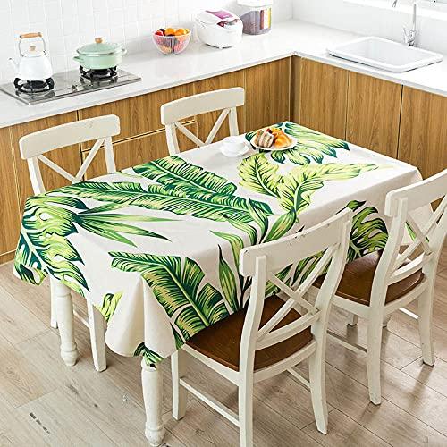 XXDD Mantel Impermeable con diseño de flamencos Monstera de Hojas Verdes Tropicales, Mantel para decoración de Mesa de Cocina para el hogar A4 140x140cm