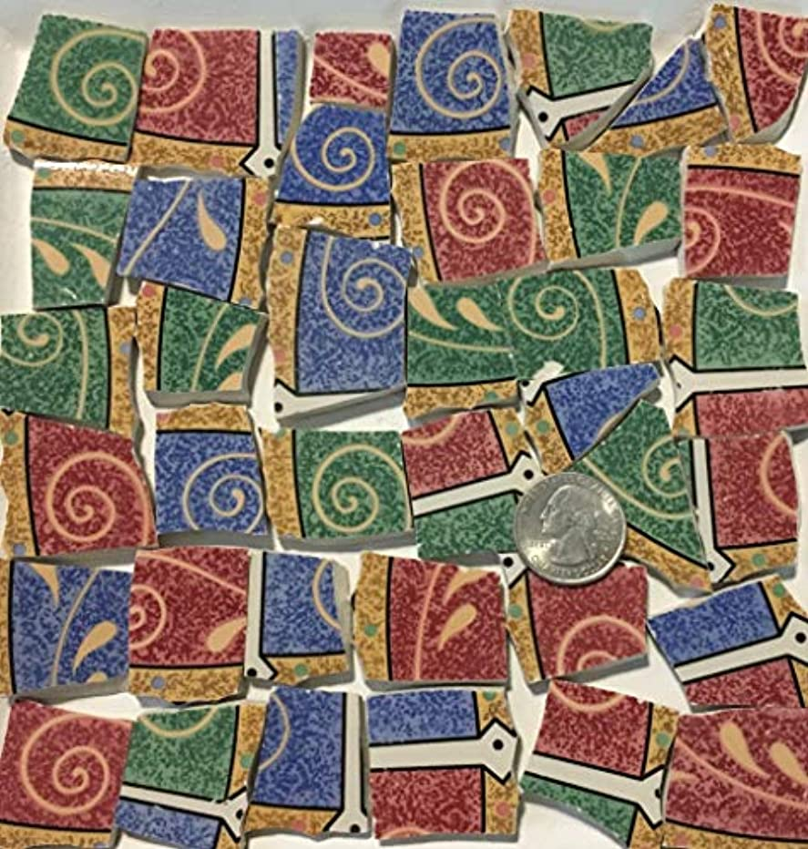 Mosaic Art & Crafts Supply ~ Blue Red & Green Abstract Tiles (B841)
