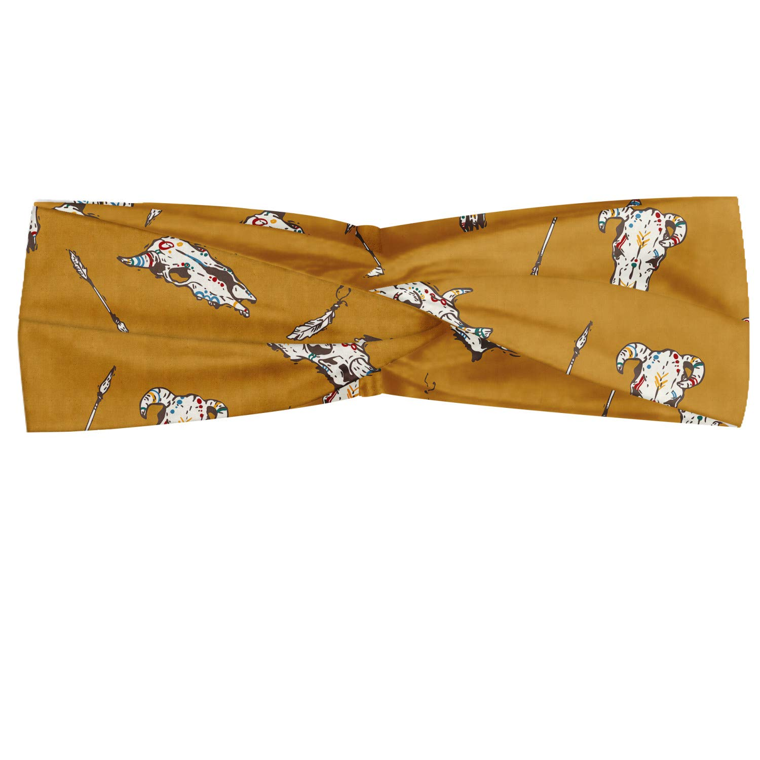 Ambesonne Rodeo Headband, Bohemian Print of Cow Skulls with Retro Element and Feathers Wild West, Elastic and Soft Women's Bandana for Sports and Everyday Use, Pale Coffee and White