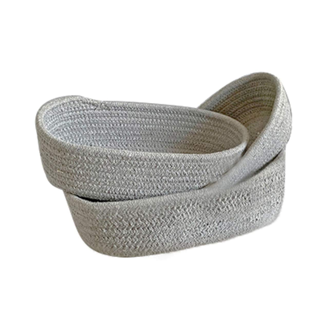 Newsea Woven Rope Basket 3 Pack Cotton Diaper Caddy Organizer Bin Nursery Laundry Storage for Toy,Towels,Blanket,Clothes,Baby Boy Girl Gift for Home Bathroom Shower Living Room Bathroom,Gray