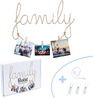 Blokkd Family Wall Decor Photo Frame! Metal Family Sign Word Wall Art with Picture Hanging String and 6x Picture Clips. Go...