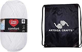 Red Heart Knitting Yarn Comfort Sport (1-Pack) White N399-4300 Bundle with 1 Artsiga Crafts Project Bag